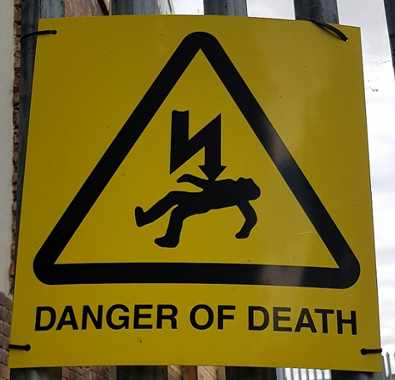 "Warning sign labelled ""Danger of death"""