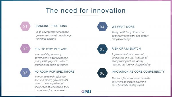 Six reasons why innovation is needed in government. 1) Changing functions: In an environment of change, governments must also change how they operate; 2) Run to stay in place In an evolving economy, governments have to change policy settings just in order to maintain the same outcomes; 3) No room for spectators: In order to remain effective decision-maker, governments have to have experiential knowledge of innovation, they cannot wait for the answers; 4) We want more: Many politicians, citizens and public servants want and expect things to change; 5) Risk of a mismatch: A government that does not innovate is one that is at risk of always being behind, always reacting yet forever disappointing; 6) Innovation as core competency: The need for innovation can strike anywhere, therefore everyone must be ready to play a part.