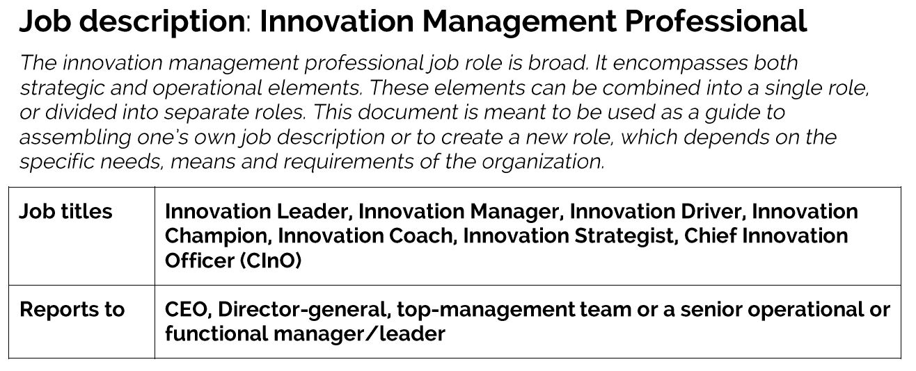 Job description: Innovation Management Professional