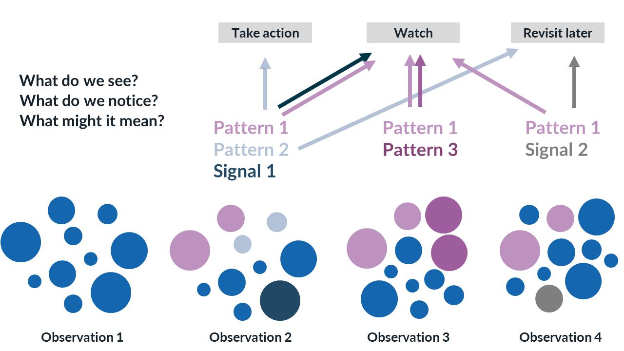 Diagram describing observations, patterns, and signals