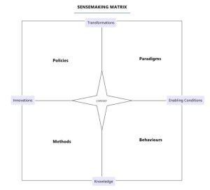 A sensemaking framework with four points: transformation, enabling conditions, knowledge, and innovations, and four quadrants: policies, paradigms, behaviours, and methods.