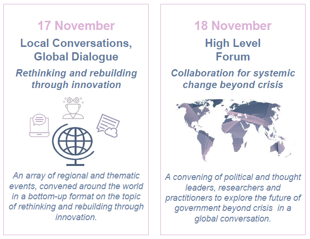 17 November - Local Conversations, Global Dialogue: Rethinking and rebuilding through innovation. 18 November - High Level Forum: Collaboration for systemic change beyond crisis