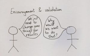 Two figures under a heading 'encouragement and validation' talking to each other with one saying 'We just need to change some things for results' and the other 'Why would we want to do that?'