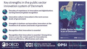 This figure highlights key strengths in the innovation system of Denmark, including bottom-up innovation, recognition of importance of innovation, innovative culture