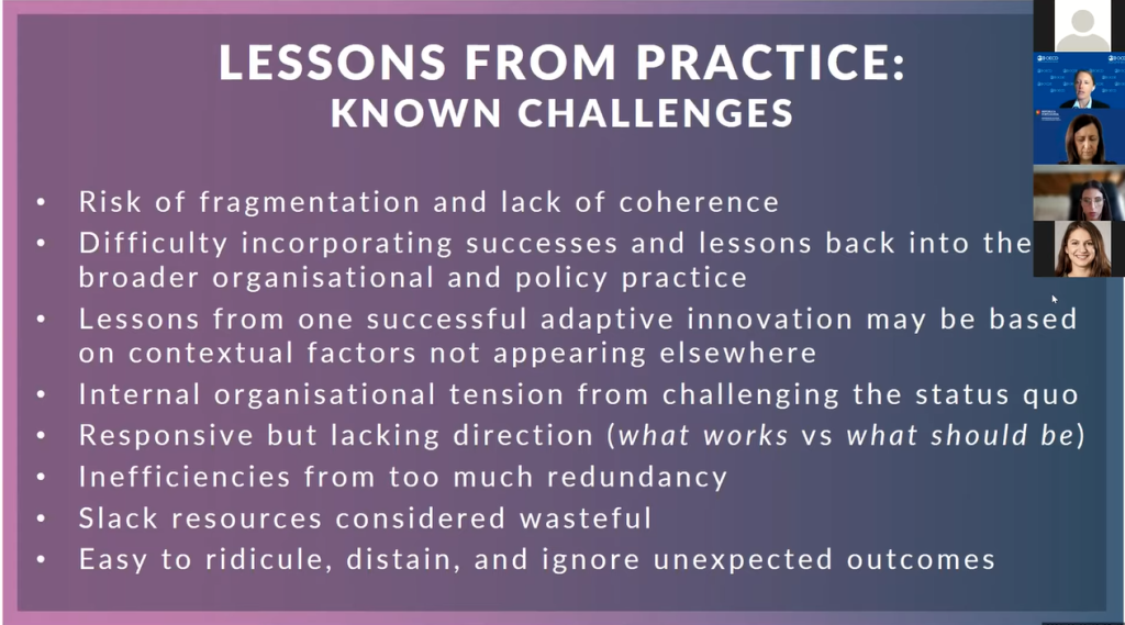 Lessons from practice: Known Challenges. Risk